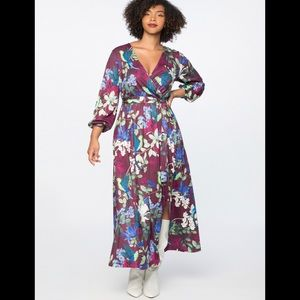 Printed wrap maxi dress, purple base
